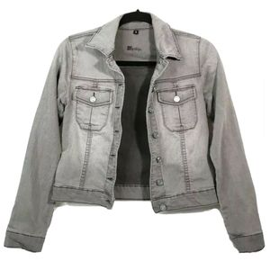 Kut from the Kloth Gray Denim Cropped Jacket